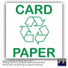 1 x Card & Paper-Sticker-Recycle Logo Sign,Recycling,Bin,Waste,Green,Environment